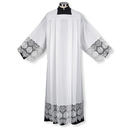 Box Pleated Clergy Alb with Lace Edging