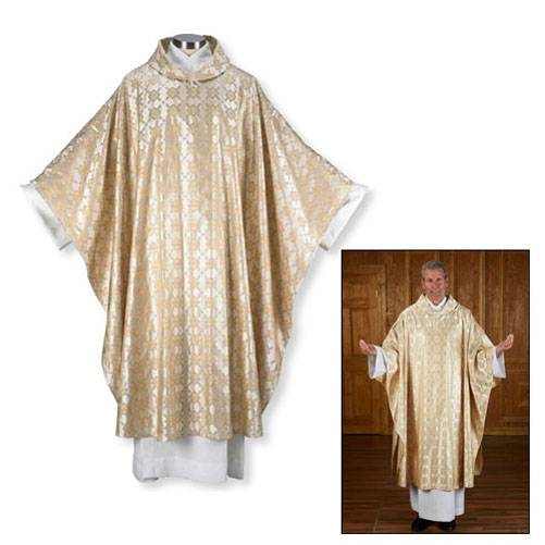 Gold Cross Jacquard Chasuble with Understole