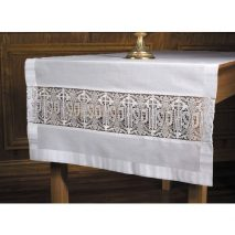 Latin Cross and IHS Lace Altar Frontal Cotton Blend
