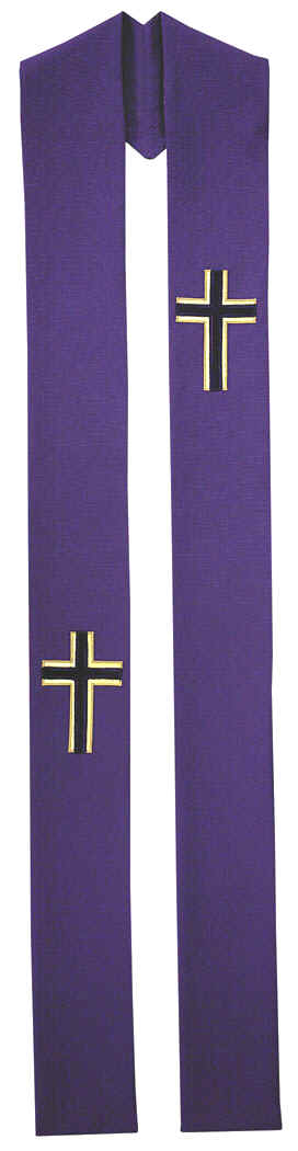 Advent Purple Clergy Overlay Stole Crosses