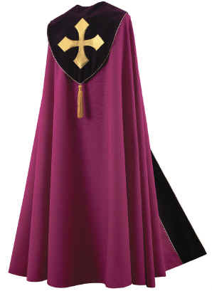 Bishop Clergy Cope Royal Purple Gold Maltese Cross