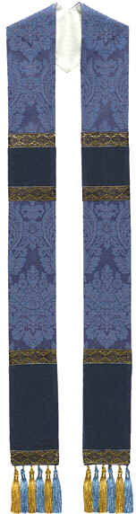 Blue Brocade Clergy Overlay Stole Velvet Panels