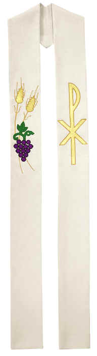 Chi Rho Grapes Wheat Clergy Overlay Stole