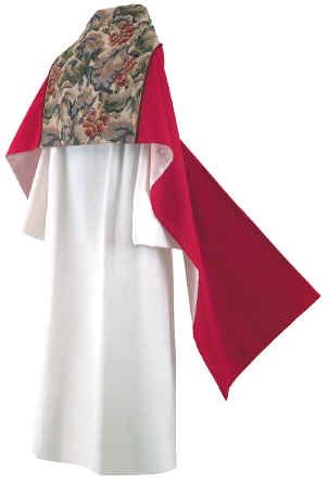Clergy Humeral Veil Red with Floral Tapstry