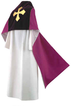 Clergy Humeral Veil Royal Purple with Gold Maltese Cross