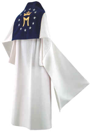Clergy Humeral Veil White with Mary Queen of Universe