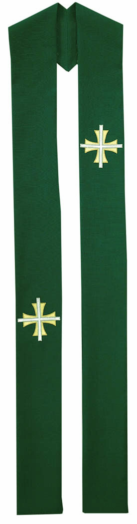 Clergy Overlay Stole Green with Two Tone Crosses