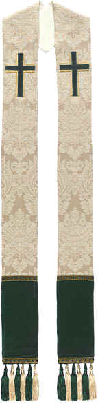 Cream Brocade Clergy Overlay Stole Green Crosses