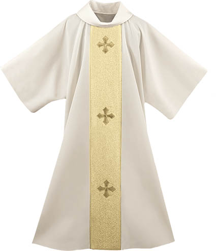 Cream Deacon Dalmatic Gold Banding Maltese Crosses