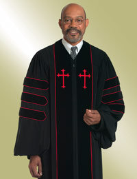 Dr of Divinity Clergy Robe with Doctoral Bars and Crosses