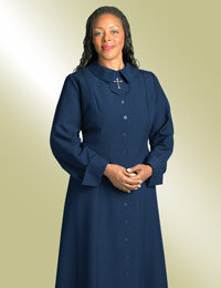 ladies navy clergy church dress with cross