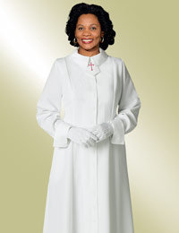 ladies white clergy church dress with cross