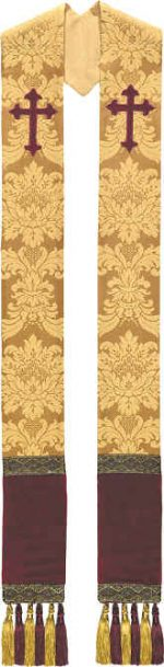 Gold Brocade Clergy Overlay Stole Wine Crosses