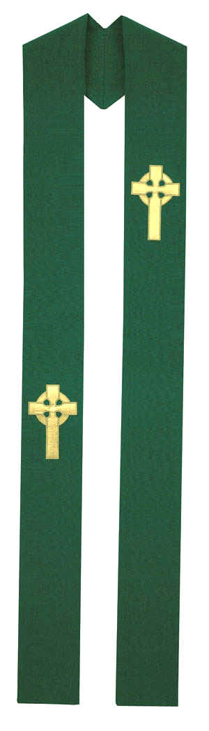 Green Clergy Overlay Stole Gold Irish Celtic Crosses
