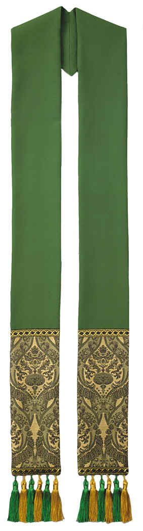 Green Clergy Overlay Stole Green Gold Tapestry