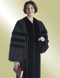 womens black pulpit robe with doctoral bars