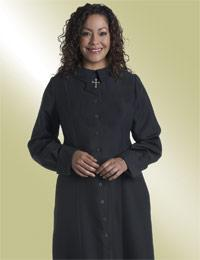 ladies black clergy church dress with cross