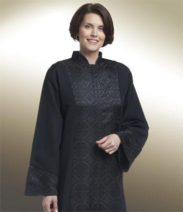 Women's Black Clergy Robe with Brocade