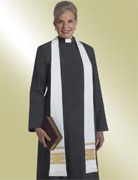 ladies black clergy preaching cassock