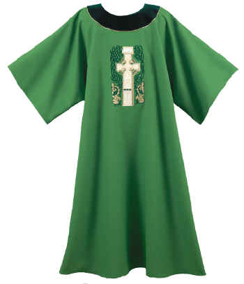 Irish Deacon Dalmatic Green with Celtic Cross