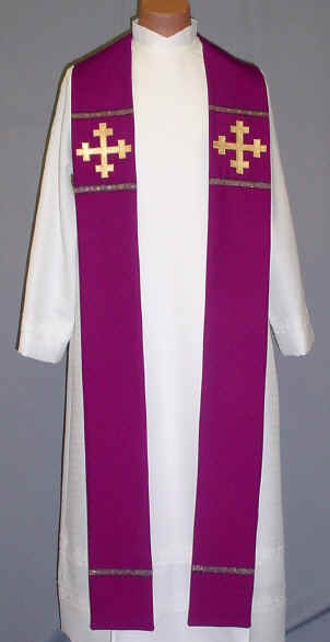Jerusalem Cross Clergy Overlay Stole