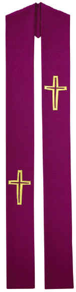Lenten Purple Clergy Overlay Stole Gold Crosses