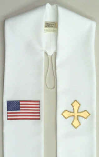 Maltese Cross and American Flag Clergy Overlay Stole