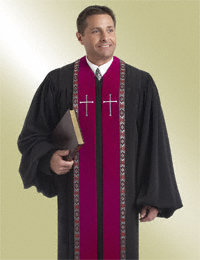 Mens Black Pulpit Robe with Scarlet Velvet Panels