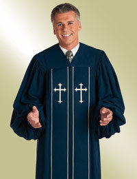 Mens Blue Pulpit Robe with Latin Crosses