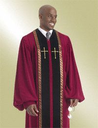 Mens Garnet Pulpit Robe with Black Velvet Panels Latin Crosses