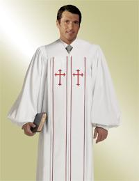 Mens Tailored Pulpit Robe with with red Crosses