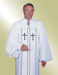 Mens White Pulpit Robe with Latin Crosses