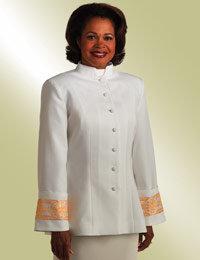 womens white clergy jacket gold banding