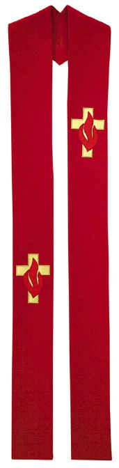 Pentecost Clergy Overlay Stole Gold Cross Red Flames