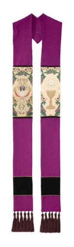 Purple Clergy Overlay Stole Communion Host Chalice Tapestry