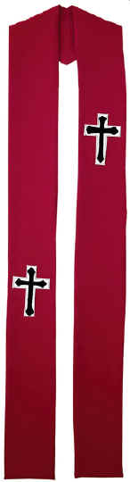 Red Clergy Overlay Stole Crosses