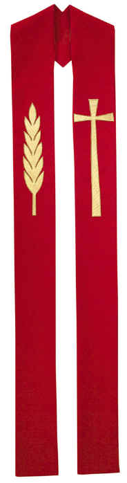 Red Clergy Overlay Stole Gold Cross Wheat