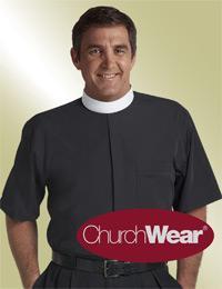 mens short sleeve clergy shirt black full collar