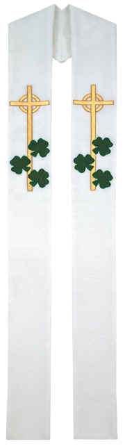 White Clergy Overlay Stole Irish Celtic Cross and Shamrocks