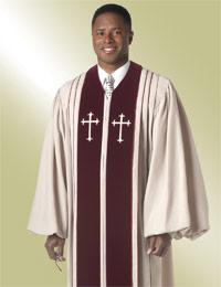 cream mens pulpit robe preaching with crosses