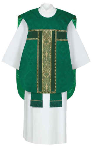 green tapestry Fiddle Back Chasuble