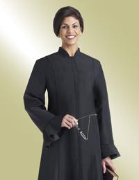 ladies black clergy dress with flaired sleeves