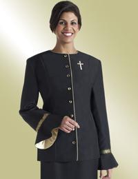 ladies black clergy jacket with flaired sleeves