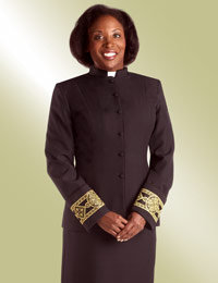 ladies black clergy jacket with gold banding