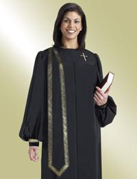 ladies black pulpit robe with gold trim scarf