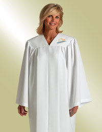 ladies white baptismal robe