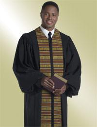 mens black kente pulpit preaching robe