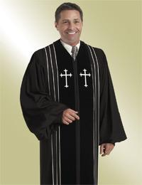 mens black pulpit preaching robe with crosses