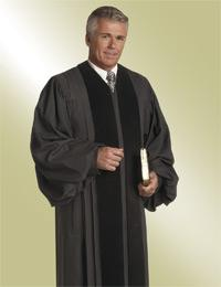 mens black pulpit robe preaching with black velvet