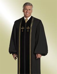 mens black pulpit robe preaching with black velvet and gold crosses